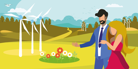 Couple Walking near Windfarm Flat Illustration. Man, Woman Enjoying Responsible Resources Use. Renewable Energy Generation Equipment, Wind Turbines. Cartoon Friends Admire Clean Environment, Flowers