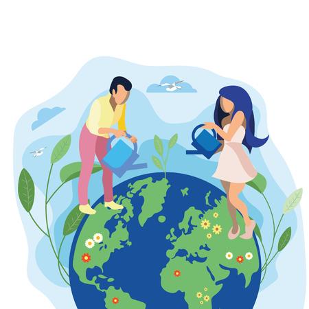Amour Terre, Planète Métaphore Illustration Plate. Agriculture responsable, approche d'utilisation des sols. Cartoon Couple Arrosage Sprout Personnages Isolés. Fleurs qui fleurissent sur les continents. État d'esprit respectueux de l'environnement