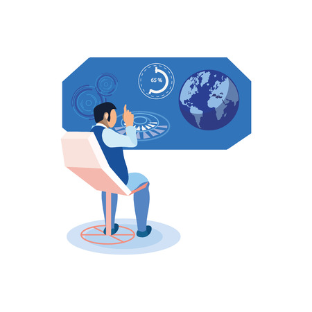 Man Studying Statistics Flat Vector Illustration. Scientist, Ecologist Raised Index Finger, Eureka. Economist Analyzing Global Trends. Space Explorer Calculating Eclipse, Earth Rotation with AR Screen