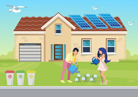 Environment Friendly Family Flat Illustration. Cartoon Husband, Wife Watering Flowerbed. Man, Woman Sorting Garbage in Containers. Smart House in Countryside Using Renewable Solar Energy