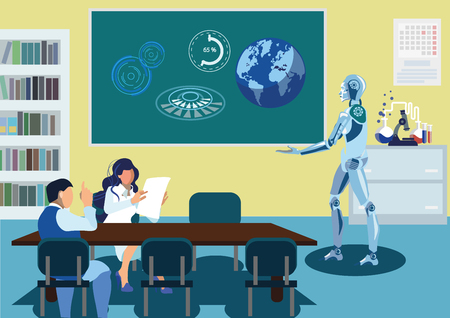 Robot Delivering Speech Flat Vector Illustration. Cartoon Humanoid Demonstrating Research Results on Board. Male, Female Participants Discussing Ideas. Chemistry Lab Glassware, Beakers Illustration