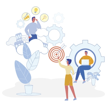 Flat Analysis Startup Development Scenarios, Flat. Vector Illustration Female Manager is Aiming. Male Financier Compares Ideas and Development Project. Programmer Provides Online Support. Illustration