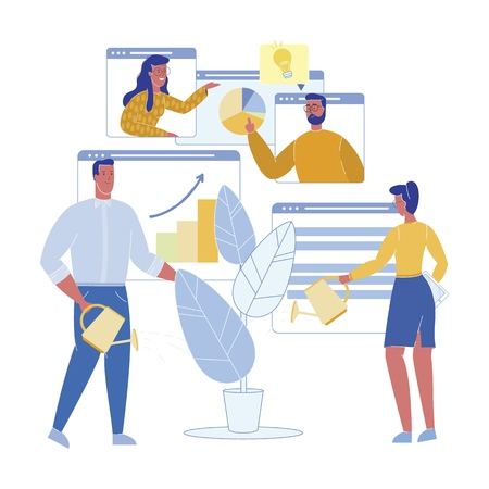 Startup Growth Potential Assessment, Cartoon. Vector Illustration. Man and  Woman are Discussing Online Hightech Collaborative Project. People Water Houseplant with Persistence in Office. Vectores