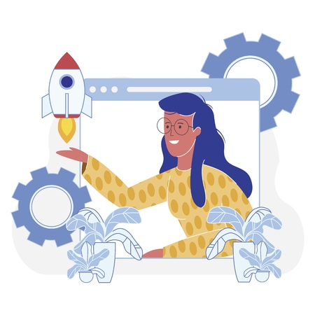 Presentation Startup Development Effectiveness. Female Entrepreneur Launches Space Rocket on Background Gears. Contribution to Business Intellectual Property and Cash Savings, Vector Cartoon.
