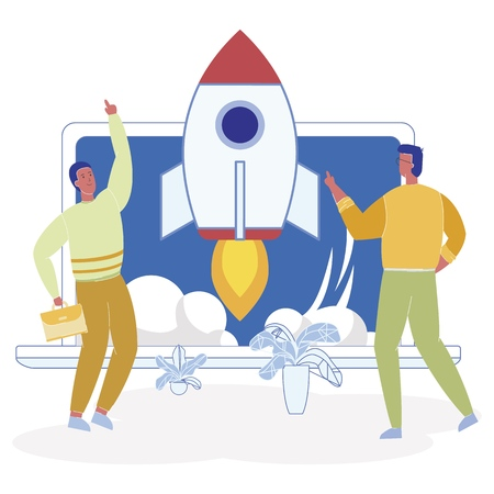 Shareholders Seek External Sources Financing. Vector Illustration Men in Casual Clothes Watching and Discussing Launch Space Rocket. Effective Involvement Specialists for Project within Company. Иллюстрация
