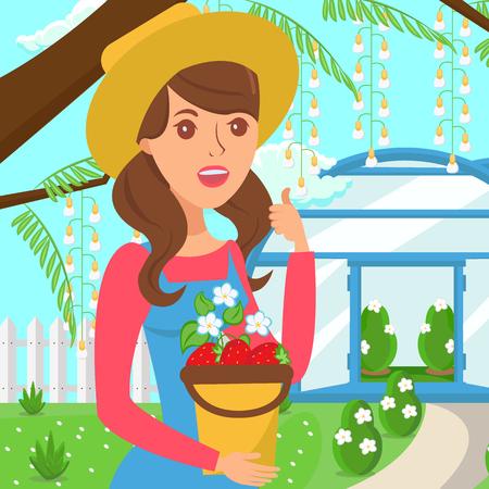 Farmer Holding Berries Harvest Vector Illustration. Ripe Juicy Strawberries Bucket. Young Female Gardener Cartoon Character. Organic, Eco Product. Raw Fresh Fruits Flat Illustration. Hothouse on Yard