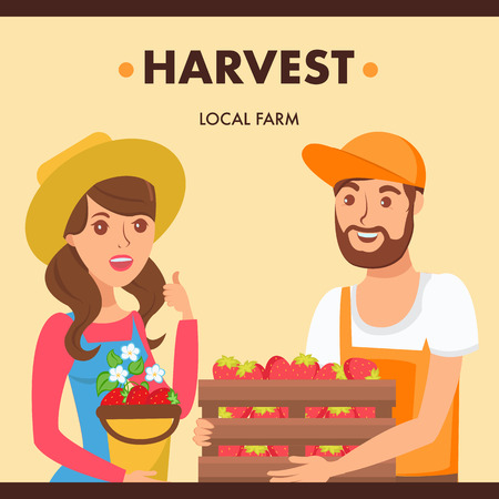 Gardeners Holding Berries Harvest Illustration. Farmers Market Seller and Buyer Cartoon Characters. Woman Selling Organic Strawberries. Man Choosing Fresh Eco Fruits. Local Farm Crop Иллюстрация