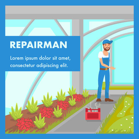 Repairman Service Social Media Banner Template. Handyman Installing Glasshouse Window. Male Cartoon Character Wearing Blue Overall. Professional Instruments Box. Foliage Plants Growing Illustration