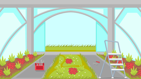 Greenhouse Building Process Vector Illustration. Cartoon Hothouse Construction. Ladder, Professional Work Tools, Instruments. Foliage Plants Indoors Cultivation. Repairman, Handyman, Builder Service