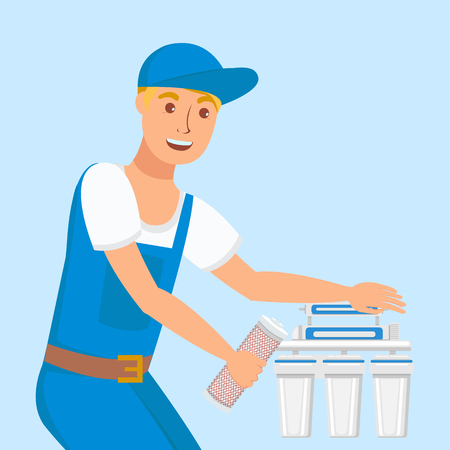 Plumber Repairing Home Filter Vector Illustration. Repairman Installing New Changeable Cartridges. Reverse Osmosis Filtration Equipment Isolated Design Element. Smiling Handyman Wearing Uniform 向量圖像