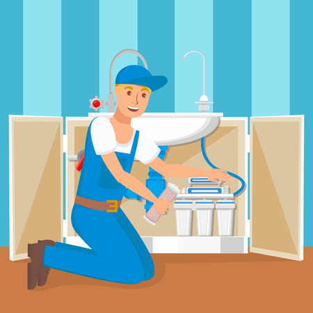 Plumber Installing Water Filter Flat Illustration. Reverse Osmosis Filtration System Technology. Pipes in Open Kitchen Cabinet. Potable Water Treatment and Purification. Repairman Vector Character Illustration
