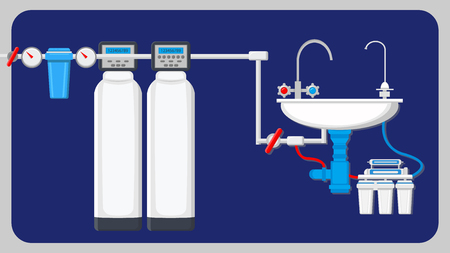 Modern Water Filtration Equipment Illustration. Reverse Osmosis. White Ceramic Kitchen Sink and Stainless Steel Faucets. House Piping. Cylinders with Manometers, Pressure Gauge and Sensors