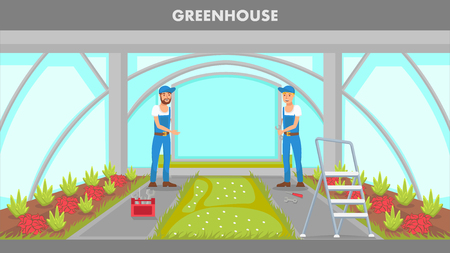 Greenhouse Repairing Web Banner Vector Template. Two Handymen Installing Hothouse Door. Repairman Service. Plants Growing Indoors Flat Illustration. Cartoon Ladder, Tool Box in Cultivation House