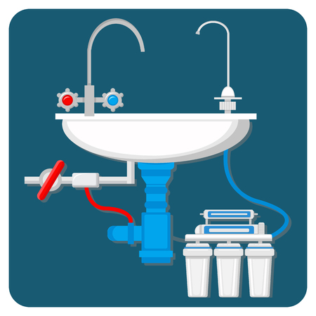 Water Purification System Vector Illustration. Cartoon Pipes and Filter Cartridges under Kitchen Sink. Modern Reverse Osmosis Technology. Drinkable Water Treatment. Potable Liquid Tap