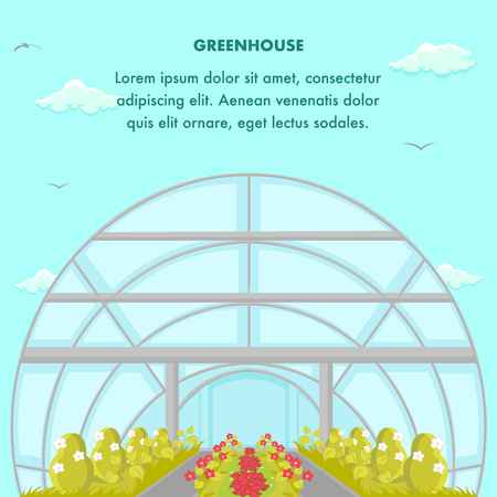 Cultivation House Social Media Banner Template. Bushes Growing in Modern Greenhouse. Greenery Industry Poster Flat Layout. Cartoon Clouds, Birds in Blue Sky. Hothouse Vector Illustration