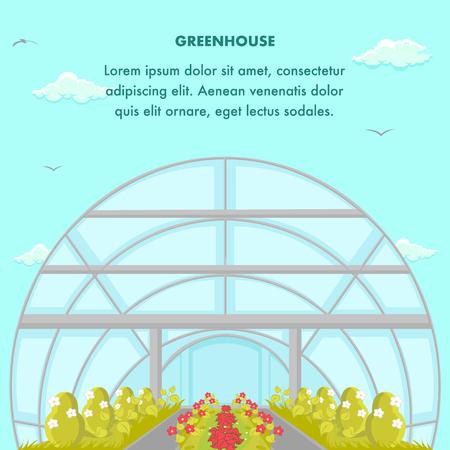 Teelthuis Social Media Banner Template. Struiken die groeien in moderne kas. Groen industrie Poster platte lay-out. Cartoon wolken, vogels in blauwe hemel. Broeikas vectorillustratie