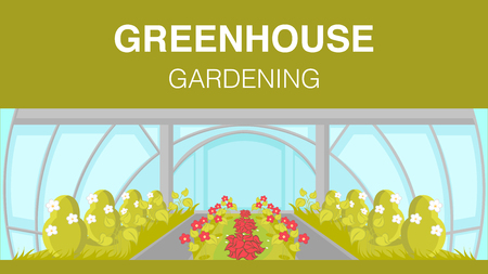 Greenhouse Gardening Web Banner Vector Template. Modern Horticulture Cultivation Technology. Glasshouse Plantation Flat Illustration. Cartoon Plants, Flowers Growing. Agriculture, Farming Stock Illustratie