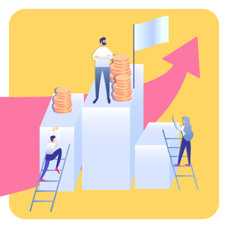 Corporate Ladder Abstract Flat Vector Illustration. Company People Cartoon Characters. Career Growth, Success Strategy, Financial Literacy. Coworkers on Staircases and Leader. Money Management Ilustracja
