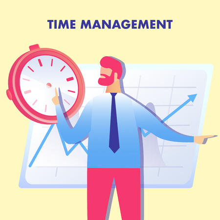 Effective Planning, Time Management Illustration. Redhead Entrepreneur Cartoon Character. Efficiency Control, Workflow Optimization, Productivity Increase. Flat Web Banner with Typography