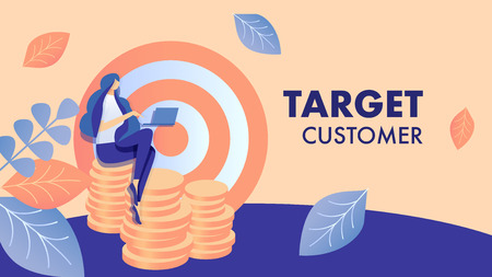 Target Customer Search Flat Banner Vector Template. Lady Working with Laptop Cartoon Character. Female Marketer Planning Audience Attraction. Marketing Campaign Illustration with Typography Vektoros illusztráció