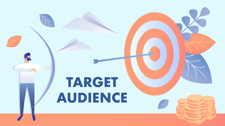 Target Marketing, Audience Vector Illustration. Businessman Shooting Bow Cartoon Character. Goal Achievement, Customers Targeting. Business Client Engagement. Lead generation Banner with Typography