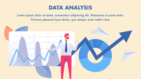 Stock Market Analysis, Data Science Banner Layout. Business Analyst Cartoon Character. Financial Literacy, Company Information Inspection. Profit, Revenue Forecast. Flat Illustration with Text Space