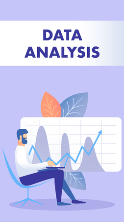Data Analysis Flat Flyer, Brochure Vector Template. Entrepreneur Sit in Chair with Laptop Cartoon Character. Corporate Statistics. Income Increase Strategy. Analytics Illustration with Typography