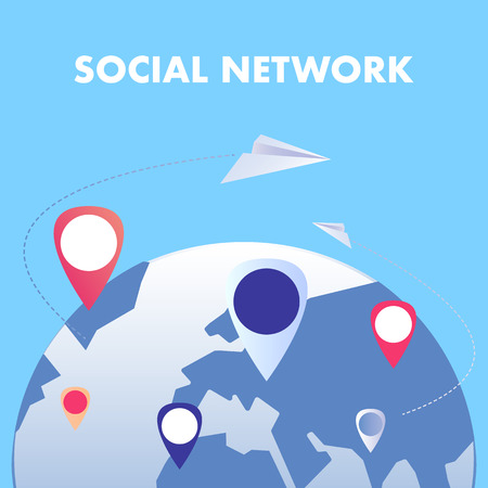 Global Social Network Flat Vector Illustration. Worldwide Internet Communication. Modern Online Lifestyle, Networking Technology. Internationalization, Travel Industry. Web Banner with Typography