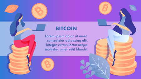 Internet Money, Bitcoin Banner Vector Template. Women Sitting on Coins Stacks with Laptops Cartoon Characters. Cryptocurrency Mining, Investment. Financial Literacy Illustration with Text Space