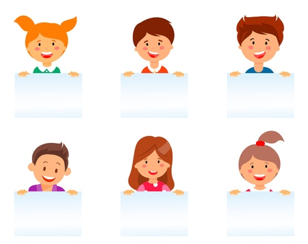 Flat Cartoon Set Faces Smiling European Children. Vector Illustration on White Background. Girls and Boys Show Healthy Teeth. Children are Holding White Paper. American Kids Smile.