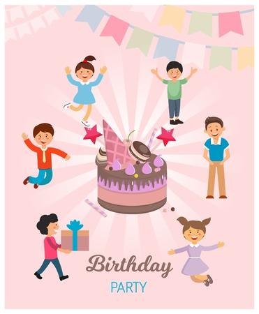 Vector Illustration is Written Birthday Party. Flat Banner Foreground is Birthday Cake, around Dancing Children. Birthday Decor and Attributes. Catering and Childrens Party, Cartoon. Illustration