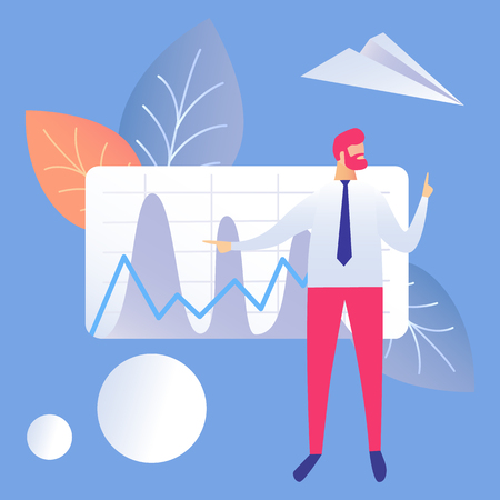 Business Presentation Flat Vector Illustration. Businessman Cartoon Character. Financial Statement, Report. Chart with Stock Market Analytics, Sales Pitch. Business development Plan. Budget management