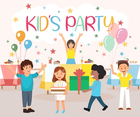 Vector Illustration is Written Kids Party Cartoon. Equipment for Childrens Activities Catering. Boys and Girls Play and Laugh Together. Children Having Fun Party, Blowing out Candles.