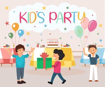 Banner plano es una ilustración de fiesta infantil escrita. Organización de vacaciones para niños Alimentos. El cumpleaños del niño saluda a los invitados con una sonrisa y abrazos. Los niños dan regalos en envoltorios. Juegos y fiesta de cumpleaños divertida.