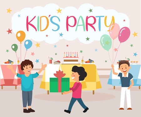 Flat Banner is Written Kids Party Illustration. Childrens Holiday Organization Food. Boy Birthday Greets Guests With Smile and Hugs. Children Give Gifts in Wrapping. Games and Fun Birthday Party. Illustration