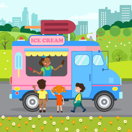 Ice cream Truck, Store Flat Vector Illustration. Happy Young Woman and Little Kids Cartoon Characters. Van with Chocolate Delicacy on Stock. Saleswoman Selling Sweet Treat in Park. Dairy Sale Business