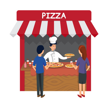 Fast Food, Pizzeria Store Flat Vector Illustration. Cheerful Cook in Hat and Customers Cartoon Characters. Chef in Uniform, Salesman Selling Italian Meal and Drinks. Pizza Kiosk, Lunch Shop
