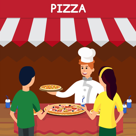 Italian Pizza Shop, Store Flat Vector Illustration. Chef in Uniform and Hungry Customers Cartoon Characters. Cheerful Chef in Hat Selling Tasty Snack. Pizzeria, Fast Food Kiosk, Takeaway Service 矢量图像