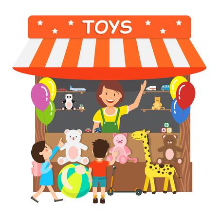 Tienda de juguetes, tienda de regalos ilustración vectorial plana. Personajes de dibujos animados de mujer sonriente y niños pequeños. Vendedora que vende regalos de felpa suave, servicio al por menor. Elemento de diseño aislado de pequeñas empresas