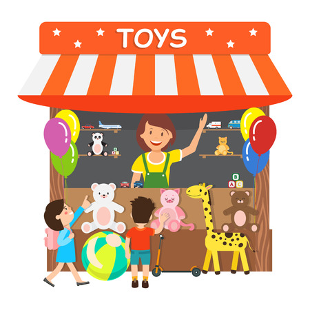 Toys Store, Gift Shop Flat Vector Illustration. Smiling Woman and Little Kids Cartoon Characters. Saleswoman Selling Soft Plush Presents, Retail Service. Small Business Isolated Design Element