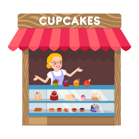 Delicious Cupcakes Booth Flat Vector Illustration. Saleswoman behind Counter with Muffins Cartoon Characters. Tasty Pastry Kiosk, Sweet Dessert Shop, Awning with Baking. Food Store, Retail Service 矢量图像