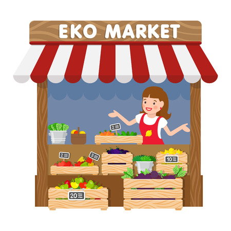 Eko Market, Grocery Kiosk Flat Vector Illustration. Saleswoman in Apron Cartoon Character. Female Seller behind Counter with Vegetables. Fresh Organic Product, Healthy Nutrition Food Sale Ilustrace