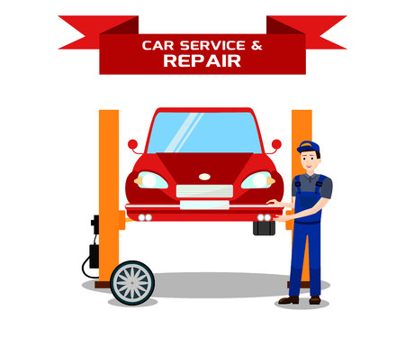 Car Service, Vehicle Repair Flat Banner Template. Automobile Maintenance Company Promotion Typography with Ribbon. Cartoon Repairman, Mechanic Inspecting Auto on Hydraulic Lift Isolated Illustration