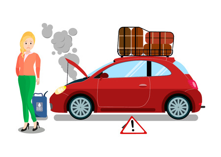 Road Trip Fahrzeugausfall flache Vektor-Illustration. Enttäuschte Fahrerin, die in der Nähe von kaputtem Automobil steht. Mädchen, Frau, die auf Abschleppwagen, Evakuator wartet. Überhitzte Motorstörung