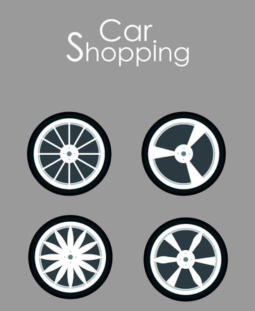 Car Spare Parts Shopping Flat Banner Template. Vehicle Details, Accessories Assortment Typography. Winter Tires, Tyres Replacement. New Wheels, Rims, Casings Choice Poster Design Layout
