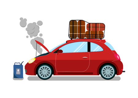 Broken Trip Automobile Flat Vector Illustration. Engine Failure Trouble. Car Motor Malfunction. Spoilt Vacations. Road Assistance, Evacuation Service Client. Traffic Accident. Fuel, Oil Problem