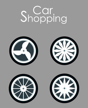 Car Wheels Shopping Flat Vector Banner Template. Automobile Accessories Sale Typography. Seasonal Tire Replacement for Better Grip, Safety. Summer, Winter Tyres, Casings Choice Poster Design Layout