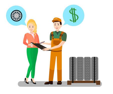 Mechanic, Client Dialogue Flat Vector Illustration. Cartoon Mechanic, Repairman, Consultant Selling Tires Set. Pretty Woman Buying Winter Tyres. Car Shopping Deal, Contract, Receipt Signing