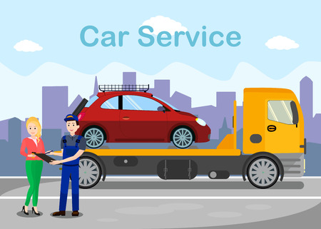 Towing Services Advertising Flat Banner Template. Broken Vehicle on Lorry Vector Illustration. Evacuation Deal, Contract, Receipt Signing. Cartoon Woman and Car Wrecker Driver, Mechanic Dialogue Illustration