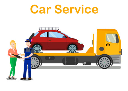 Car Evacuation Services Banner Flat Vector Template. Company Worker Discusses Vehicle Towing with Client. Cartoon Female Driver Orders Broken Automobile Transportation. Roadside Assistance Typography